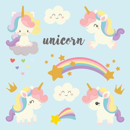 set of cute unicorn vector. Illustration