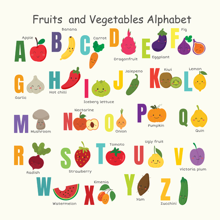 set of vegetable and fruit alphabet.