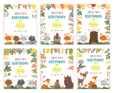 set of cute animal theme birthday party invitation card vector illustration. Illustration