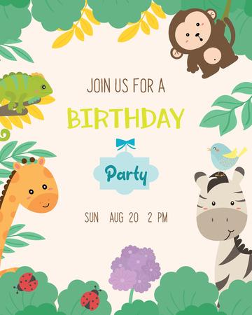 Cute animal theme birthday party invitation card vector illustration.