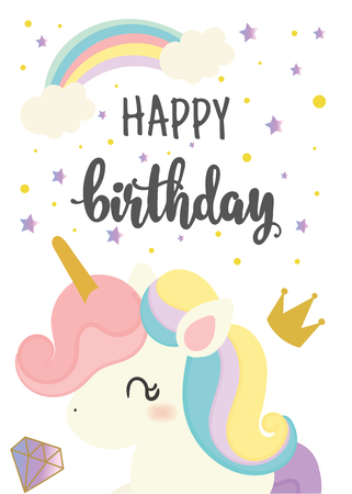 Happy birthday card with cute unicorn. Greeting . Hand written text. Stock Vector - 107667283