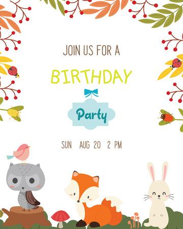Cute animal theme birthday party invitation card vector.