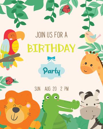 Schattige dieren thema verjaardagspartij uitnodigingskaart vectorillustratie.