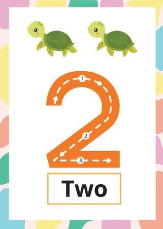 Hoja de trabajo de rastreo de números número 2 con tortuga.