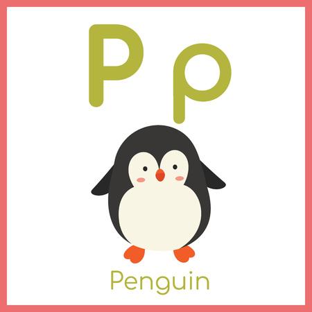 Cute animal alphabet. P letter. Cute Penguin.