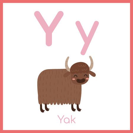 Alphabet animal mignon. Lettre Y. Yak mignon.