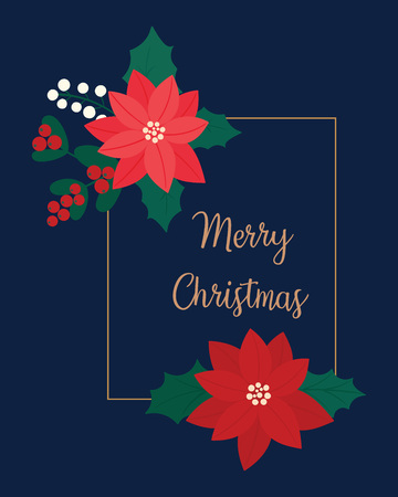 Merry Christmas greeting card. flower, floral. Banque d'images - 120407253