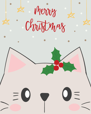 Christmas card. cute cat. Banque d'images - 120407566