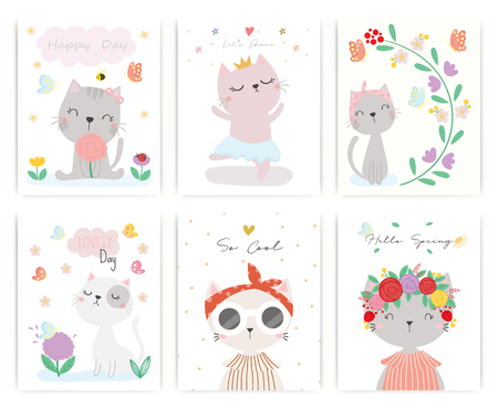 Set of cute cat vector. T-shirt design. Greeting card.