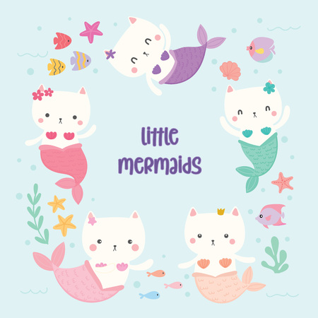 Set of cute cat mermaids vector. Vectores