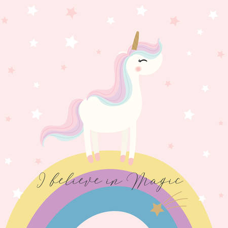 Cute unicorn design. Vector illustration. Фото со стока - 152225567