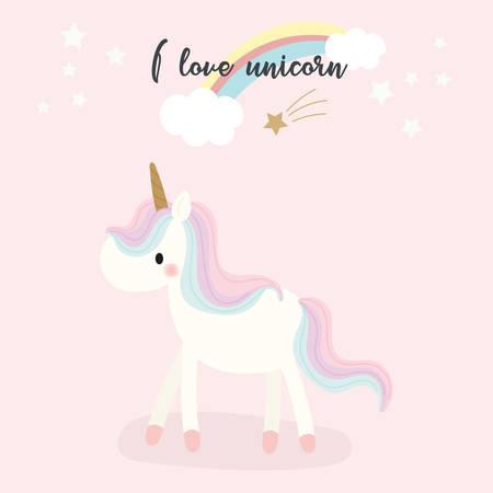 Cute unicorn design. Vector illustration. Vectores