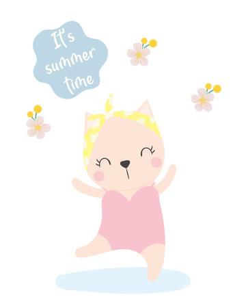 cute cat summer vector. T-shirt design. Greeting card.