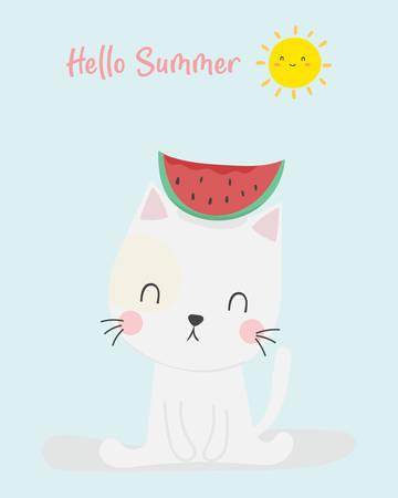 cute cat summer vector. T-shirt design. Greeting card. Фото со стока - 152225583