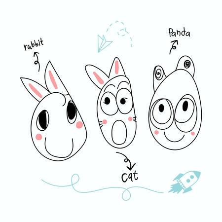 cute animal drawing by kid vector. cat, rabbit, panda. T-shirt design. Greeting card.