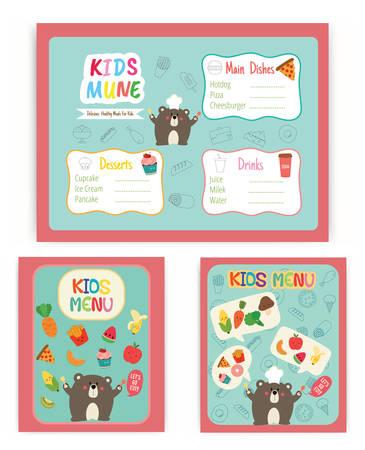 Cute colorful kids menu vector template Vectores