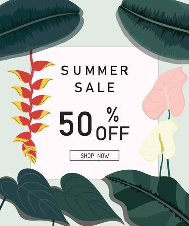 Summer sale design tropical leaves background. Vector