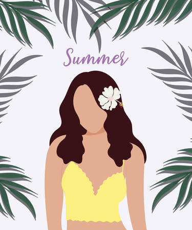 Beautiful teen girl with tropical hibiscus dark green palm leaves background. flat design. vector illustration.