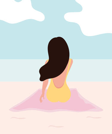 young girl happy in holiday on beach. sunbathing. flat design. vector illustration.