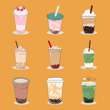Bubble tea design, Pearl milk tea, coffees and soft drinks with logo and doodle style advertisement banner. bubble tea slogan with bubble tea cartoon Vector illustration. Vectores
