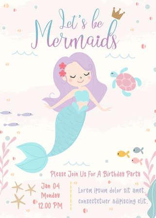 Cute mermaid theme birthday party invitation card vector illustration.