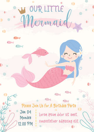 Cute mermaid theme birthday party invitation card vector illustration. Фото со стока - 151806446