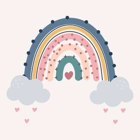 Cute colourful rainbow with drops and heart isolated. printable poster for kids. Фото со стока - 152226561