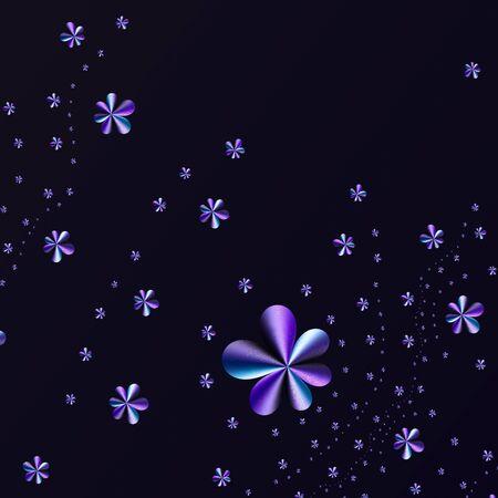 Futuristic blue, purple flower wallpaper, modern contemporary presentation cover design, beauty volumetric industrial, business background, 3D illustration, 3D rendering