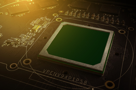 Macro picture of graphics processing unit (GPU) on pcb board Stock Photo