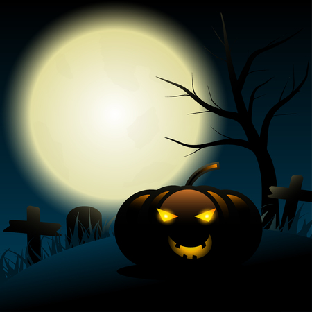 Full Moon halloween background with glowing light inside the pumpkin in the graveyard.