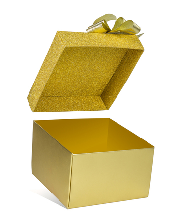Open glod gift box floating glitter lid on white background with clipping path