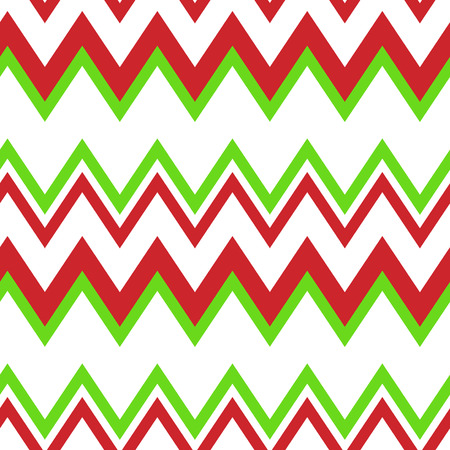 Chevron red and green color pattern on white background