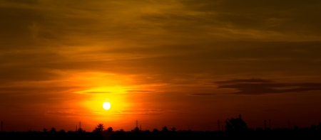 Background of sunrise or sunset on the orange panorama orane color sky and cloud