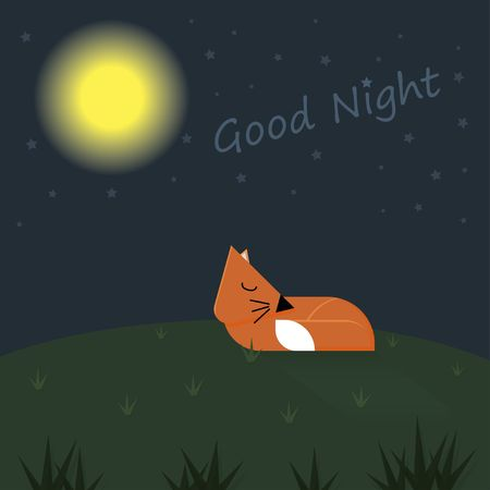 Goodnight card sleeping red fox under the moon shine and star Vectores