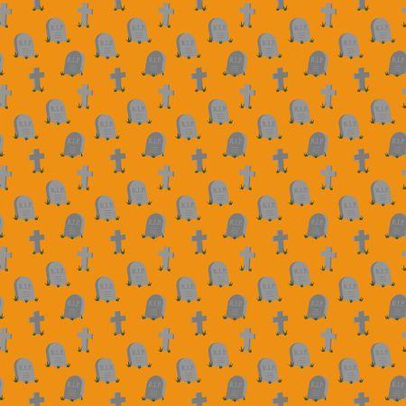 Halloween theme graveyard on orange background seamless pattern half dorp repeat