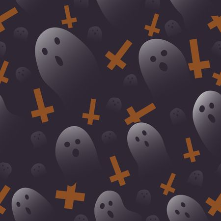 Halloween ghost and orange cross background cartoon style random repeat seamless pattern