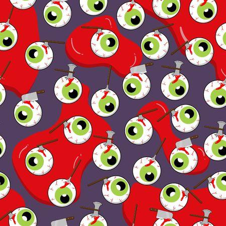 Halloween seamless pattern monster eye balls on blood background random repeat