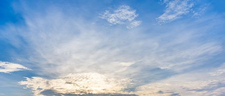 White cloudy and blue sky panorama background