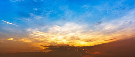 Twilight sky and clouds panorama background