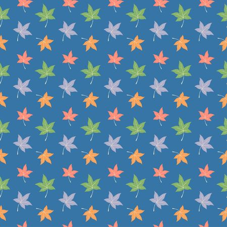 Colorful maple leaves seamless pattern, half drop repeat,  vector background