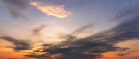 Panorama background of sky and clouds at morning twilight