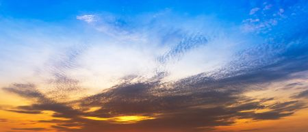 Nature sky and clouds at twilight time panorama background