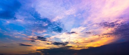 Panorama colorful twilight sky and clouds background,