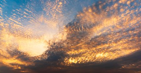 Panorama background of sky and golden clounds at twilight time Stok Fotoğraf