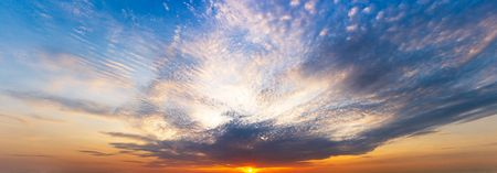 Panorama twilight sky and clouds with the sun shining background, sunrise or sunset scene