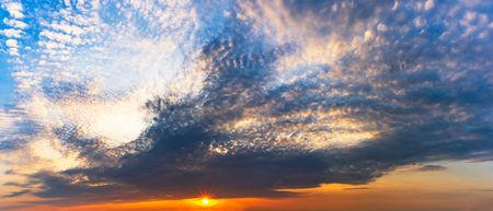 Panorama twilight sky and cloudy with the sun is shinning at sunrise or sunset scene