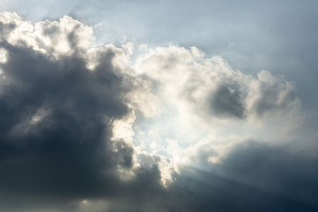 cloudy sky and silver lining sun light  background Banco de Imagens