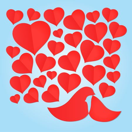 Red couple Love Birds and paper heart shape on blue background Çizim