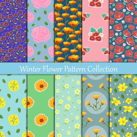 Collection of flower is blooming in winter season Camellia,English Primrose,Winter Jasmine,Calendulas, and Hellebore seamless vector pattern