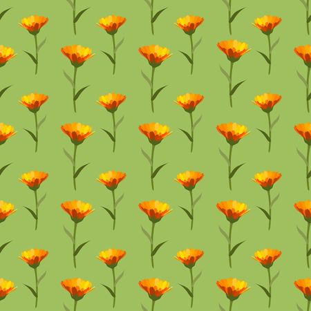 Yellow Calendulas winter flower on green background seamless half drop repeat type  vector pattern Illustration